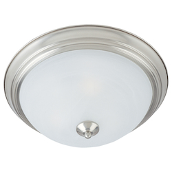 Maxim Three Light Satin Nickel Marble Glass Bowl Flush Mount
