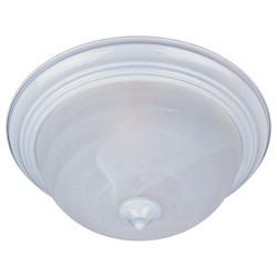Maxim Three Light White Marble Glass Bowl Flush Mount