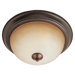 Maxim Three Light Oil Rubbed Bronze Wilshire Glass Bowl Flush Mount