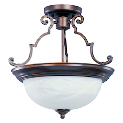 Maxim Two Light Oil Rubbed Bronze Marble Glass Bowl Semi-Flush Mount