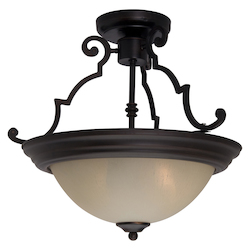 Maxim Two Light Oil Rubbed Bronze Wilshire Glass Bowl Semi-Flush Mount