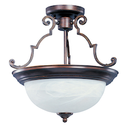 Maxim Three Light Oil Rubbed Bronze Marble Glass Bowl Semi-Flush Mount
