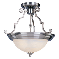 Maxim Three Light Satin Nickel Marble Glass Bowl Semi-Flush Mount