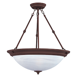 Maxim Three Light Oil Rubbed Bronze Marble Glass Up Pendant