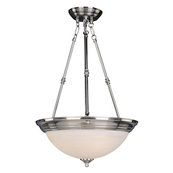 Maxim Three Light Satin Nickel Marble Glass Up Pendant
