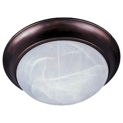 Maxim One Light Oil Rubbed Bronze Marble Glass Bowl Flush Mount