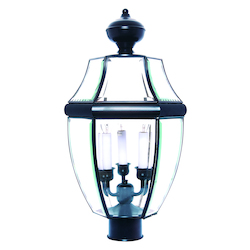 Maxim Three Light Black Clear Glass Post Light