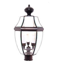Maxim Three Light Burnished Clear Glass Post Light
