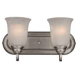 Maxim Two Light Satin Nickel Marble Glass Vanity