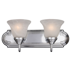 Maxim Two Light Polished Chrome Marble Glass Vanity