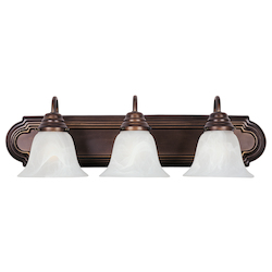 Maxim Three Light Oil Rubbed Bronze Marble Glass Vanity