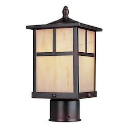 Maxim One Light Burnished Honey Glass Post Light