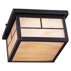 Maxim Two Light Burnished Honey Glass Outdoor Flush Mount