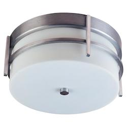 Maxim Two Light White Glass Brushed Metal Outdoor Flush Mount