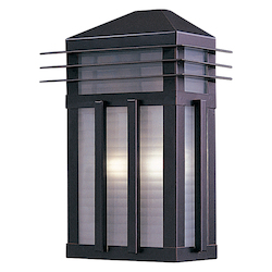 Maxim Two Light Burnished Prairie Rib Frost Glass Outdoor Wall Light