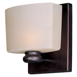 Maxim One Light Oil Rubbed Bronze Dusty White Glass Bathroom Sconce