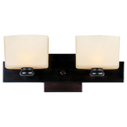 Maxim Two Light Oil Rubbed Bronze Dusty White Glass Vanity