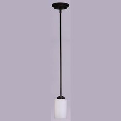 Maxim One Light Oil Rubbed Bronze Satin White Glass Down Mini Pendant