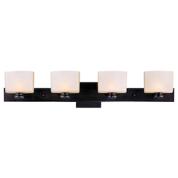Maxim Four Light Oil Rubbed Bronze Dusty White Glass Vanity