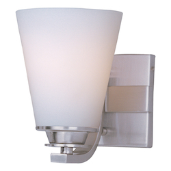 Maxim One Light Satin Nickel Satin White Glass Bathroom Sconce