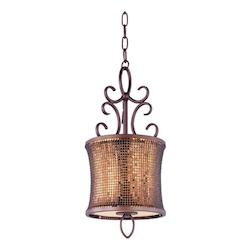 Maxim One Light Umber Bronze Drum Shade Mini Pendant