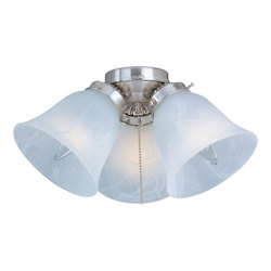Maxim Three Light Satin Nickel Marble Glass Fan Light Kit