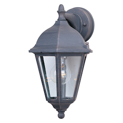 Maxim One Light Rust Patina Clear Glass Wall Lantern