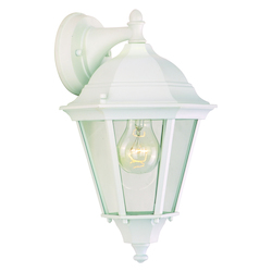 Maxim One Light White Clear Glass Wall Lantern
