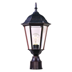 Maxim One Light Empire Bronze Clear Glass Post Light