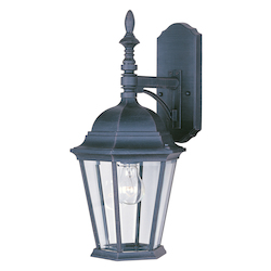 Maxim One Light Black Clear Glass Wall Lantern