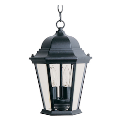 Maxim Three Light Black Clear Glass Hanging Lantern