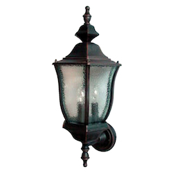 Maxim Three Light Rust Patina Seedy Glass Wall Lantern