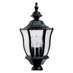 Maxim Three Light Black Seedy Glass Post Light