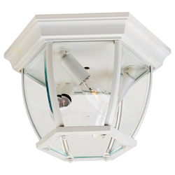 Maxim Three Light White Clear Glass Outdoor Flush Mount