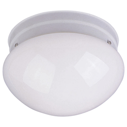 Maxim One Light White White Glass Mushroom Flush Mount