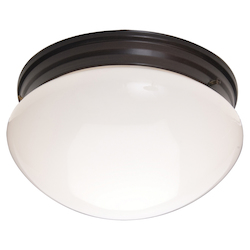 Maxim Two Light Oil Rubbed Bronze White Glass Mushroom Flush Mount