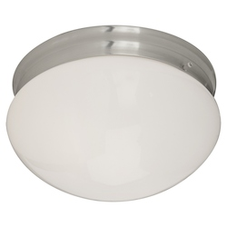 Maxim Two Light Satin Nickel White Glass Mushroom Flush Mount