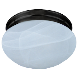 Maxim One Light Oil Rubbed Bronze Marble Glass Mushroom Flush Mount