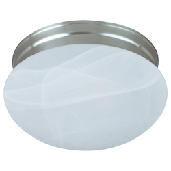 Maxim One Light Satin Nickel Marble Glass Mushroom Flush Mount