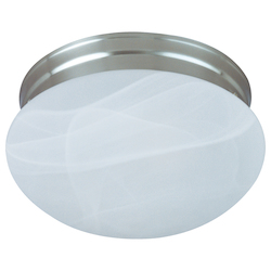 Maxim Two Light Satin Nickel Marble Glass Mushroom Flush Mount