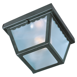 Maxim One Light Black Frosted Glass Outdoor Flush Mount