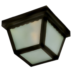 Maxim Two Light Black Frosted Glass Outdoor Flush Mount