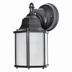 Maxim One Light Black Frosted Glass Wall Lantern