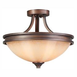 Golden Open Box Sovereign Bronze Craftsman / Mission Two Light Semi-Flush Mount Ceiling Fixture from the Hidalgo Collection