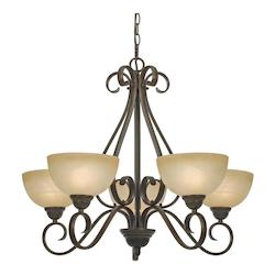 Golden Peppercorn Five Light Chandelier from the Riverton Collection