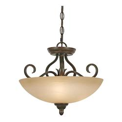 Golden Peppercorn Convertible Three Light Semi Flush Ceiling Fixture