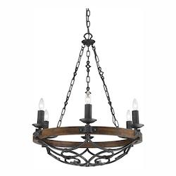 Golden Black Iron Madera 6 Light Candle Style Chandelier