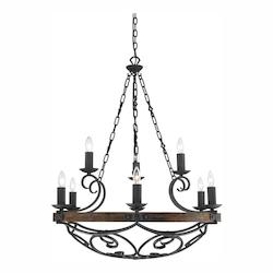 Golden Black Iron Madera 9 Light Chandelier