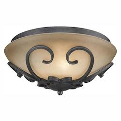 Golden Black Iron Madera Flush Mount Ceiling Fixture with 3 Lights