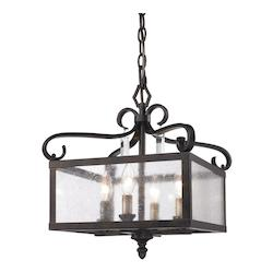 Golden Fired Bronze Valencia Semi-Flush Ceiling Fixture with 4 Lights